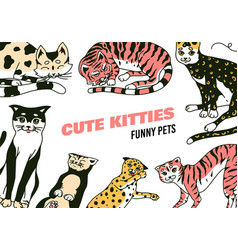 cats background cute funny domestic kitty poster vector image