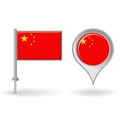 Chinese pin icon and map pointer flag vector