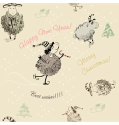 Christmas seamless texture with sheep vector image