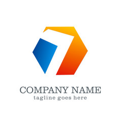 colored polygon business logo vector image