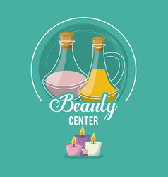 Colorful logo of beauty center with set of floral vector