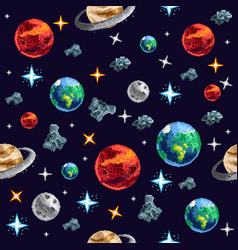 colorful pixel planets in seamless background vector image