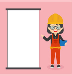 Construction workers character with blank board vector