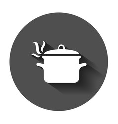 cooking pan icon in flat style kitchen pot with vector image