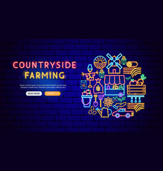countryside neon banner design vector image