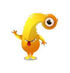 cute yellow monster with one eye and long neck vector image