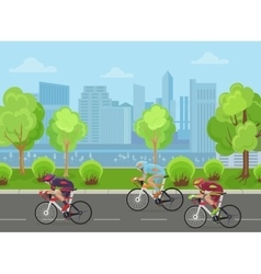 Cyclists mans on road race bicycle racing in city vector