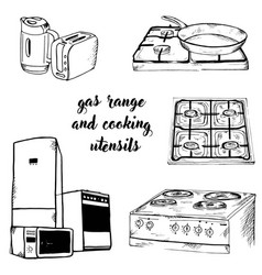 Doodle assortment of gas and kitchen vector