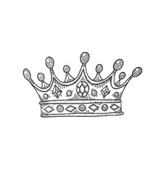 drawing a crown with stones black and vector image