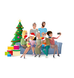 family selfie at christmas party cartoon vector image