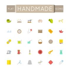 Flat Handmade Icons vector