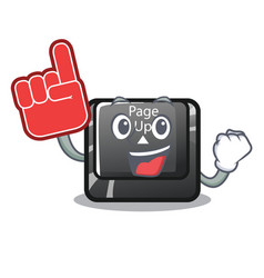 Foam finger button page up keyboard mascot vector