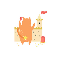 funny cat building a sand castle on a beach vector image