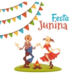 Girl and boy dancing at Brazil june party vector