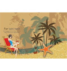 Glossy girl on vintage summer background vector