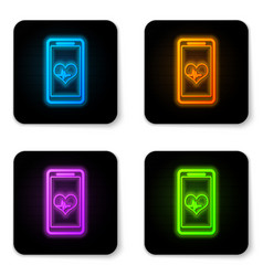 glowing neon smartphone with heart rate monitor vector image