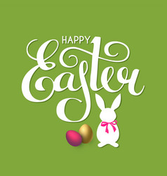 happy easter lettering with bunny eggs and bow vector image