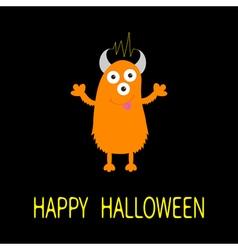 Happy Halloween card Orange monster with eyes vector
