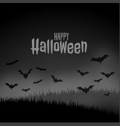 Happy halloween night scary scene with flying bats vector