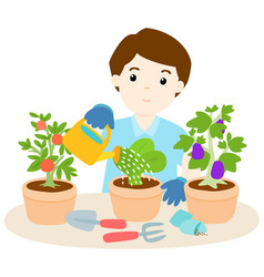 Happy man watering plants cartoon vector