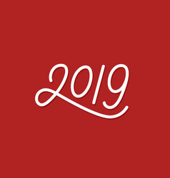 happy new year 2019 line art text vector image