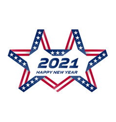 happy new year 2021 flyer with usa flag colors vector image