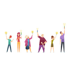 happy people with sparklers woman man seniors vector image
