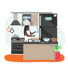 happy woman spending free time at home housewife vector image