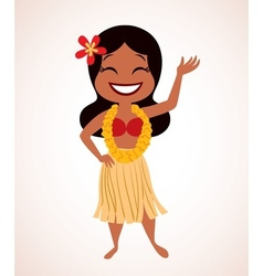 Hawaii hula girl vector