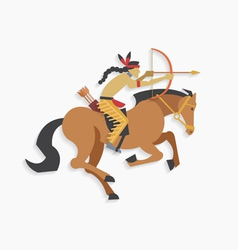 Indian warrior with bow and arrow riding horse vector image