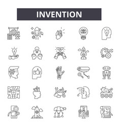 Invention line icons signs set outline vector