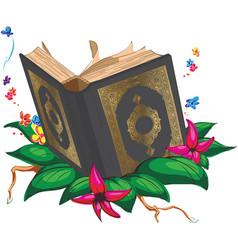 islam holy book quran moslem arab cartoon drawing vector image