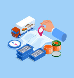 Isometric fish shop delivery concept fish vector