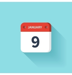 January 9 isometric calendar icon with shadow vector