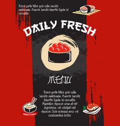 Japanese restaurant sushi menu template vector