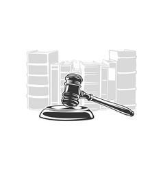 Judge gavel on books background vector
