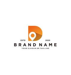 Letter d map pin logo design vector