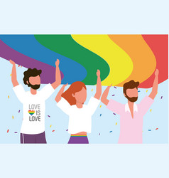 Lgbt community together to freedom and proud vector