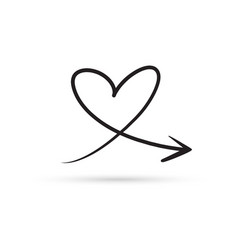Love heart arrow draw doodle brush sketch cartoon vector