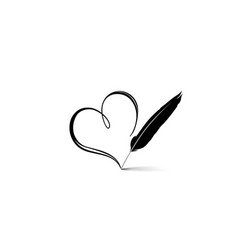 love heart calligraphic hand drawn sign written vector image