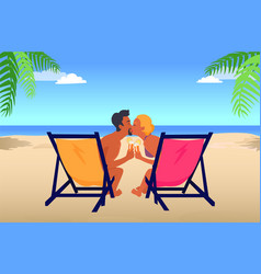 Man and woman kiss in recliners on sandy beach vector