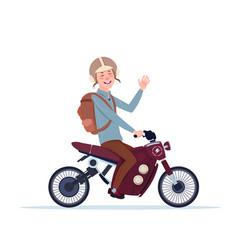 man in helmet riding motorcycle or motorbike vector image