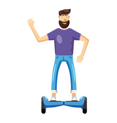 Man riding hoverboard icon cartoon style vector