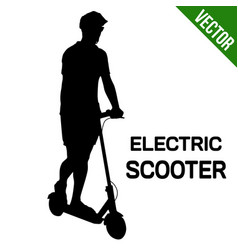 man silhouette riding electric scooter vector image