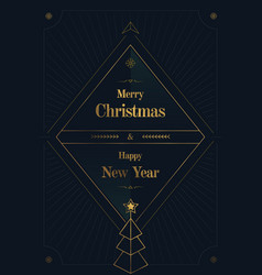 merry christmas golden art deco vector image