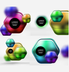 Metallic glossy color abstract shapes vector