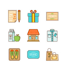 minimal lineart flat shopping icons set vector image