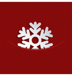 Modern snowflakes on red knitted vector