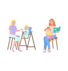mother and child childcare motherhood family vector image