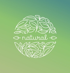 Natural label in trendy linear style vector